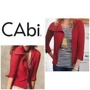 CAbi Asymmetrical red zip it cardigan sweater